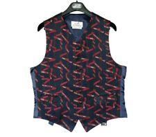 HERMES waistcoat vest mens blue black striped red monogram formal silk 50 M