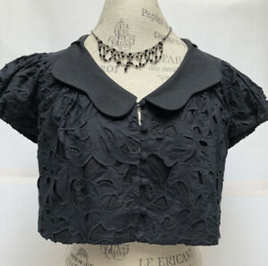 ROBERT RODRIGUEZ Embroidered LINEN CUTOUT Eyelet button Down Cropped Black Top 4