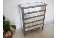 BLACK SILVER EMBOSSED MIRRORED GLASS LARGE CHEST OF DRAWERS (DX3572)