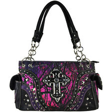 MUDDY GIRL CAMO PURPLE STUDDED RHINESTONE CROSS SHOULDER HANDBAG CONCEALED CARRY