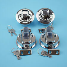 4PCS Flush Pull Hatch Latch Lock Chrome Plated PA-6 Insert For Boat US STOCK