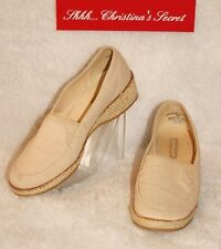 GRASSHOPPERS ~ Tan Comfy Linen Style Espadrille Loafers  Sz 6 M * VERY GOOD ++