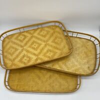 "Lot of 3 Vintage Bamboo Wicker Rattan Tiki Serving Coffee Tray Coffee 17.25""x12"""
