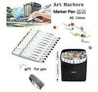 Marker Set 40 Colors Permanent Paint Pens Twin Dual Tip Copic Sketch Highlighter