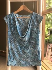 Gorgeous HAMDMADE 100% Silk Aqua Blue Abstract Print Blouse Top Sz L EUC