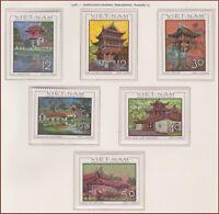 VIETNAM du NORD N°610/615** Architecture,1968 North Vietnam 521-526 Pagodas MNH