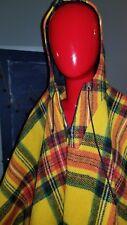 Vintage Plaid Wool Hooded Cape Shawl Poncho fringe zipper s/m