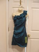 NWT $169 s.l fashions teal one shoulder ruched Formal Ocassion Dress size 16