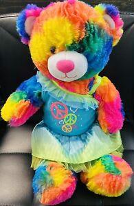 build a bear rainbow color hippie peace Sign love Dress 60s 70s Vintage Rare Toy