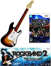NEW Nintendo Wii Rock Band 2 Wireless Sunburst Guitar & RockBand 3 Game RARE