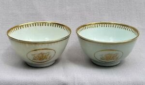 Pair Antique 19th Century Chinese Export Porcelain Tea Bowls Gold Monograms