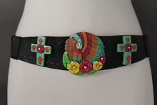 Women Stretch Waist Black Western Fashion Belt Turquoise Flower Cross Indian S M
