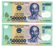 1 MILLION VIETNAM DONG CURRENCY  = 2x 500000 500,000 DONG BANKNOTE UNCIRCULATED