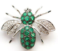18K White Gold Emerald=0.94cts Diamond=.15 carats Bee Pin 20x25 millimeters