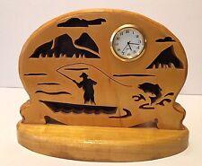 Wooden Handcrafted Fly Fishing Scene Mantle/Desktop Clock