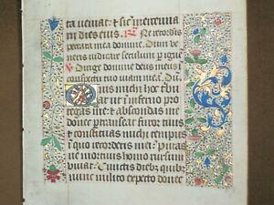 RARE Illuminated Manuscript Vellum Book of Hours Leaf w/ Gold, c.1480