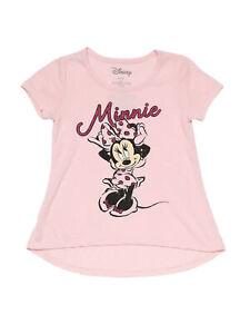 Disney Little Girls Minnie Mouse High-Low Lightweight Glitter T-Shirt Pink