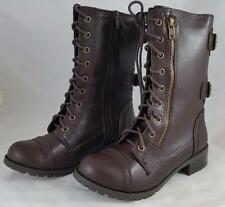 Soda Dome SA Women's Brown Lace Up Zipper Combat Style Boots