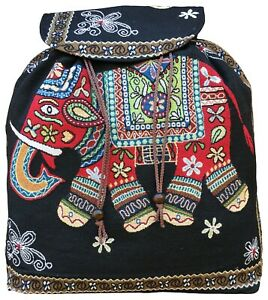 Thai Hippie Boho Ethnic Backpack  Elephant Design Rucksack Summer Out Door Bag