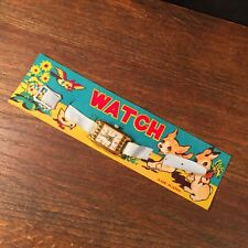 Vintage NOS Toy Watch Made in Japan Puppy Bird Bunny on Card PRIORITY MAIL a