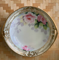 "Noritake 7-1/2"" Handled Serving Dish - Handpainted - Vintage Gold Gilt Pink Rose"