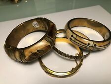 Lot Of 4 Antique Bangle Bracelets Made In India Bone Brass Hand Made