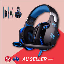 3.5mm Gaming Headset Mic Blue LED Headphones Stereo for Laptop PS3 Xbox one