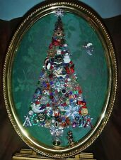 Vintage Jewelry Art Christmas Tree, Signed and Framed