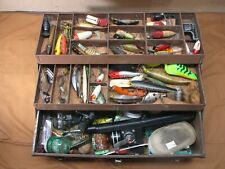 Vintage Kennedy Fishing Tackle Box Full Wood & other Fishing Lures Bait's Reels