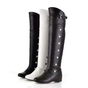 chic womens boots over knee high boots faux leather slouch shoes flats Sz
