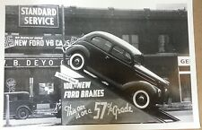 "12 By 18"" Black & White Picture 1937 Ford  2 door flatback 57% grade Ford Brakes"