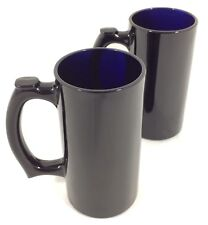 "2 Vtg BLACK AMETHYST GLASS Beer Steins 5 1/2"" Heavy Mugs Thumb Rest 12oz RARE!"