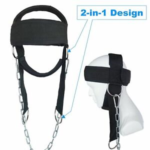 Neck Head Weight Harness Lifting Strap With Chain Trainer Weightlifting Boxing