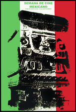 Decor Graphic Design movie Poster Mexico MAYA Sculpture.Mexican flag.Cinema week