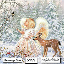 (5159) TWO Individual Paper BEVERAGE / COCKTAIL Decoupage Napkins - WINTER ANGEL