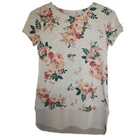 Branded Cotton Blend Feminine Floral Print Grey Marl Longer Length T-Shirt Top