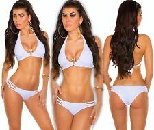 Neckholder Push-Up Bikini Triangle Snake Strass Tankini Monokini Badeanzug ws L