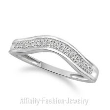 Wishbone Shaped 9K White Gold 1/10CT Diamond Wedding Ring (Band)