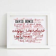 David Bowie Poster, Ziggy Stardust, Framed Original Art, Album Print Lyrics Gift