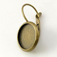 Brisuren / Ohrring Rohlinge für 12mm Cabochons, Bronzefarben, 10 Stück