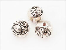 10x Versilberte Acryl Perlen Buddha Kugel Antik silber 14mm kb044