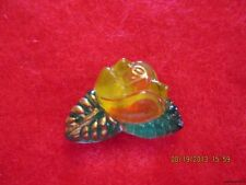 """Czech Glass Yellow Red,Green&Gold Rose Black Backed Button-.957""""x.684"""""""
