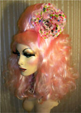 Drag Queen Wig Costume Light Pink Tall Shoulder Length Curls