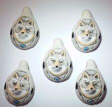 Peruvian Ceramic Gray Wolf Face Animal Focal Bead Single OR Lot or 5 OR 10 DIY