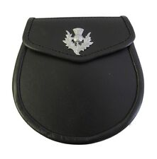 LEATHER SPORRAN LEATHER WITH CHROME THISTLE CREST FREE CHAINSTRAP