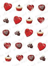 20 Nail Decals VALENTINE SWEETS Water Slide Nail Art Decals Assort Designs Nails