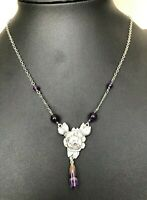 Vintage 925 Solid Sterling Silver & amethyst stone floral necklace