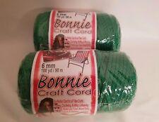 Lot of 2 Rolls of Kelly Green 6mm Bonnie Braid Braided Macrame Craft Cord 200yds