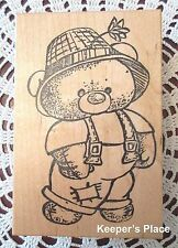 Large Teddy Bear Overalls Hat Wood Mounted Rubber Stamp Brand New 113
