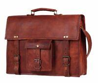 """18"""" Vintage Leather Messenger Bag Laptop Satchel Briefcase Office Shoulder Bags"""